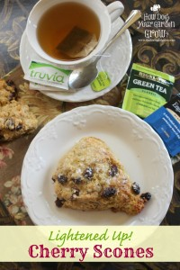 These Lightened Up! Cherry Scones are a low fat version of a traditional scone recipe. They are made with Truvia Baking Blend. These scones are perfect with a cup of Bigelow Tea. #Ad #sweetwarmup