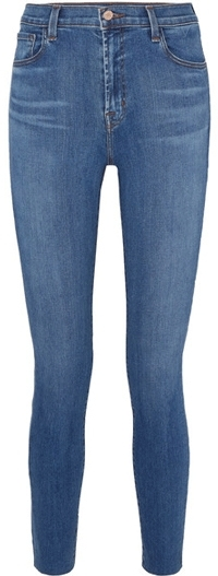 J Brand high waist raw ankle skinny jeans | 40plusstyle.com
