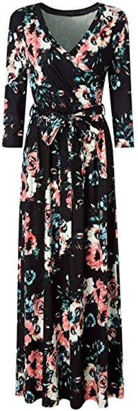 Zattcas faux wrap maxi dress | 40plusstyle.com