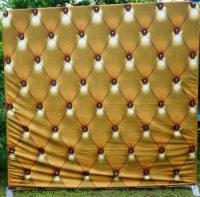 Golden button pillowcase backdrop photo booth