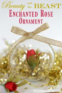 This simple DIY Beauty And The Beast Enchanted Rose Christmas Ornament is inspired by the upcoming live-action Beauty And The Beast Film. This is a fun Christmas craft for Disney fans of all ages.