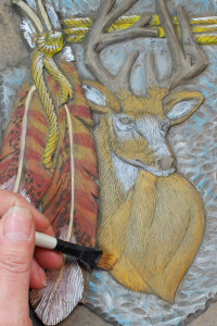 How to dry brush paint a relief wood carving