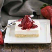 Strawberry Pie Dessert slice on a white plate with a red handled fork