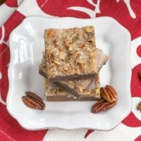 German Chocolate Brownies - Fudgy brownies topped with a caramelly, coconut, pecan topping