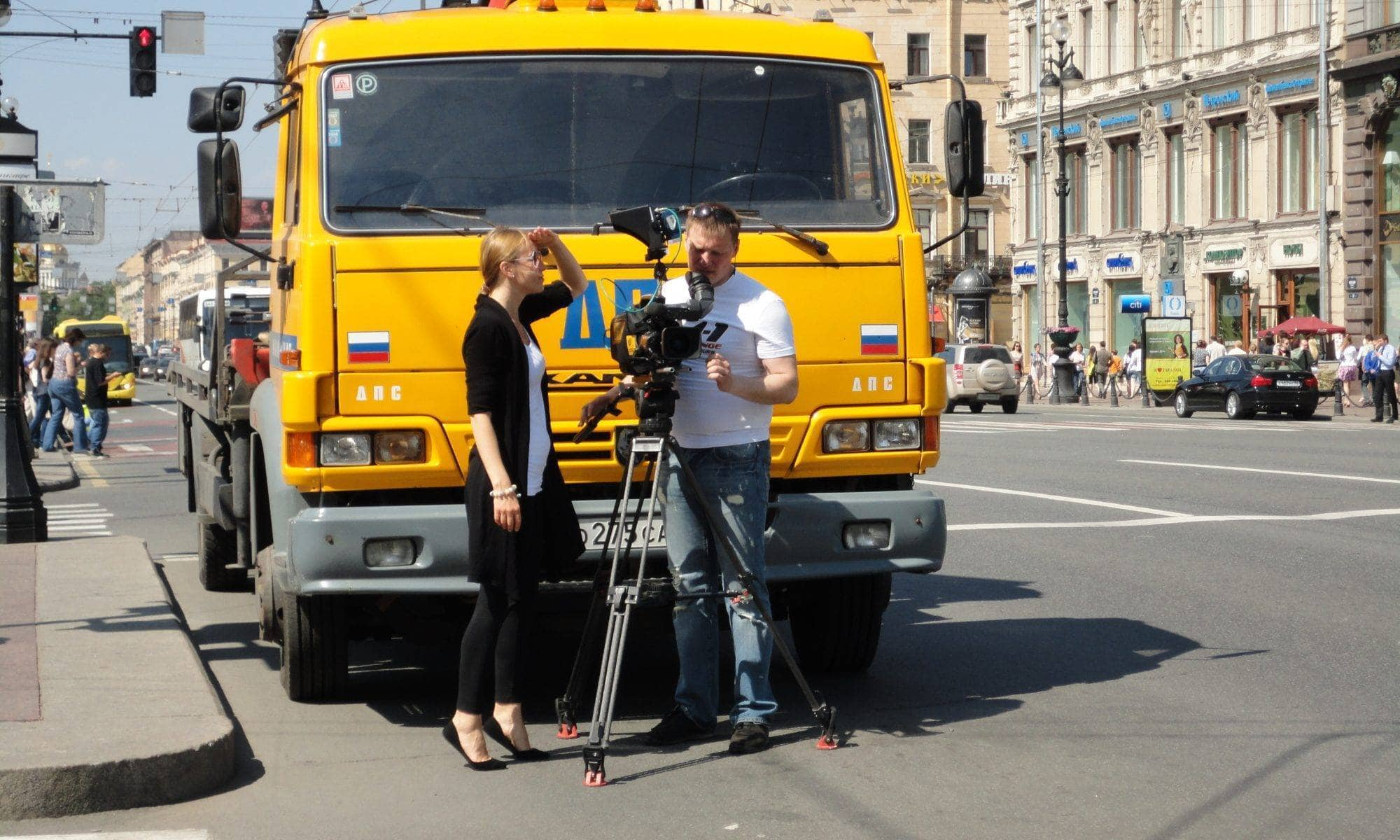 Filming in St. Petersburg, Russia