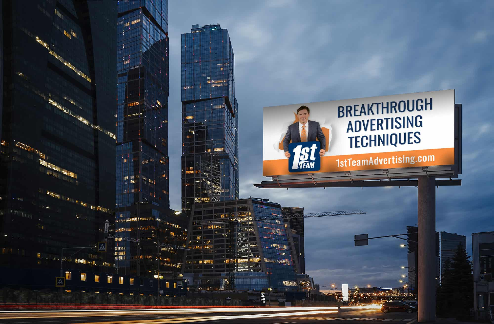 1st Team Advertising billboard in busy city at night