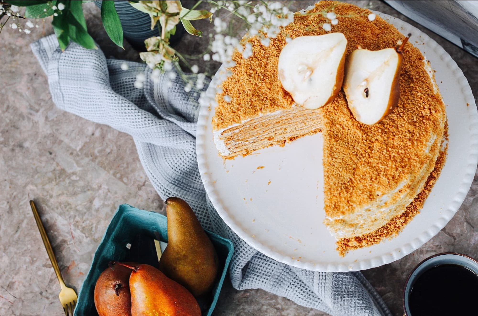 Russian Pear Cake with Ginger Infused Maple Syrup by Runamok Maple