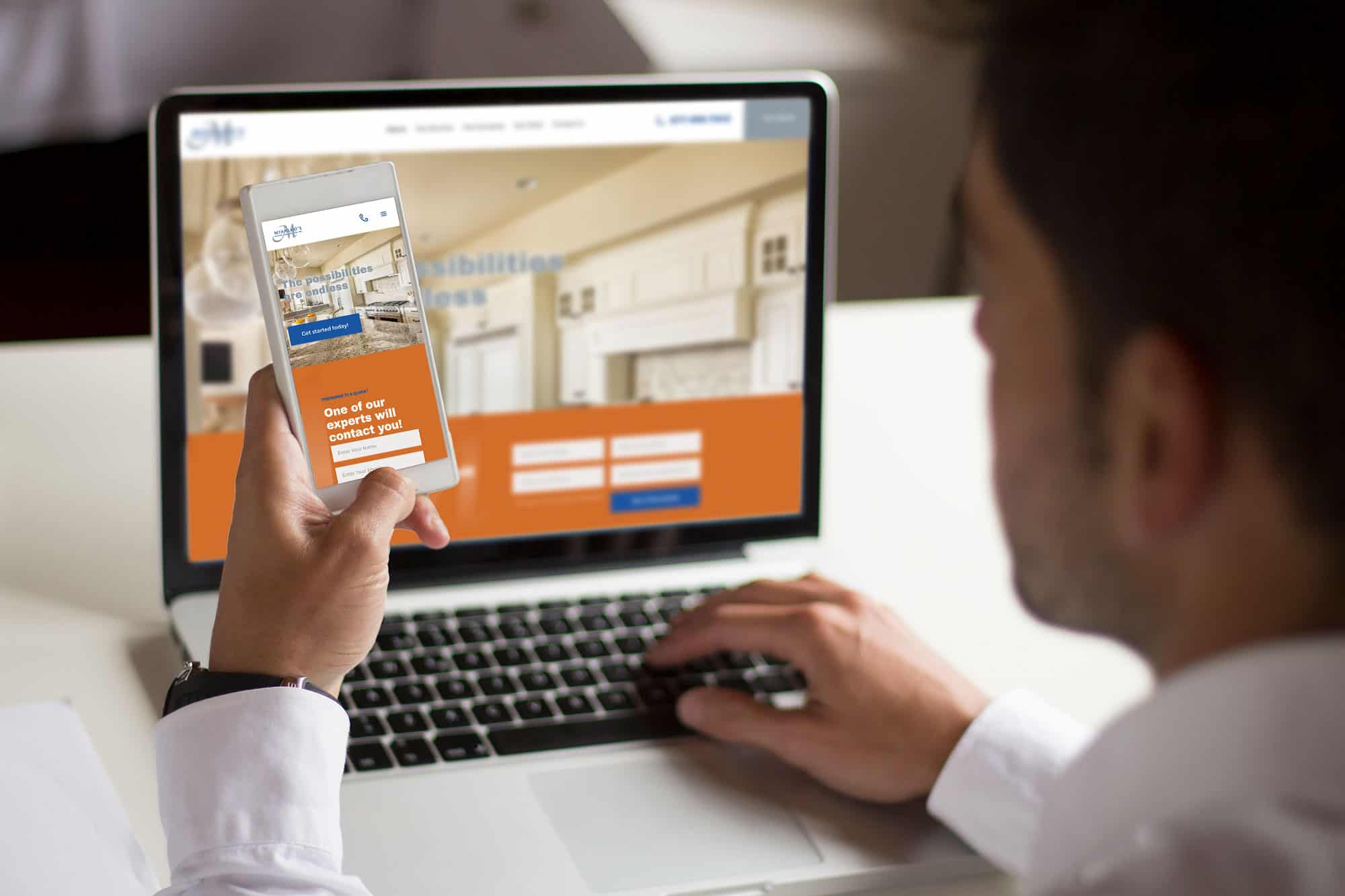 Mihalkos Contracting website on laptop and mobile device