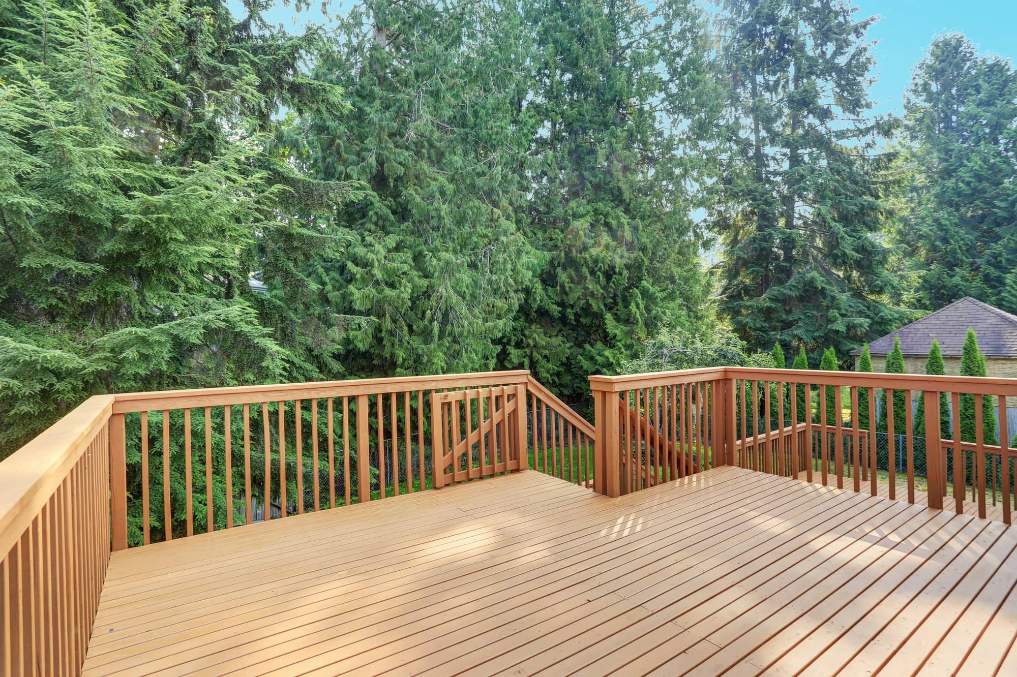 wood deck in a nature setting, eco-friendly wood sealer applied