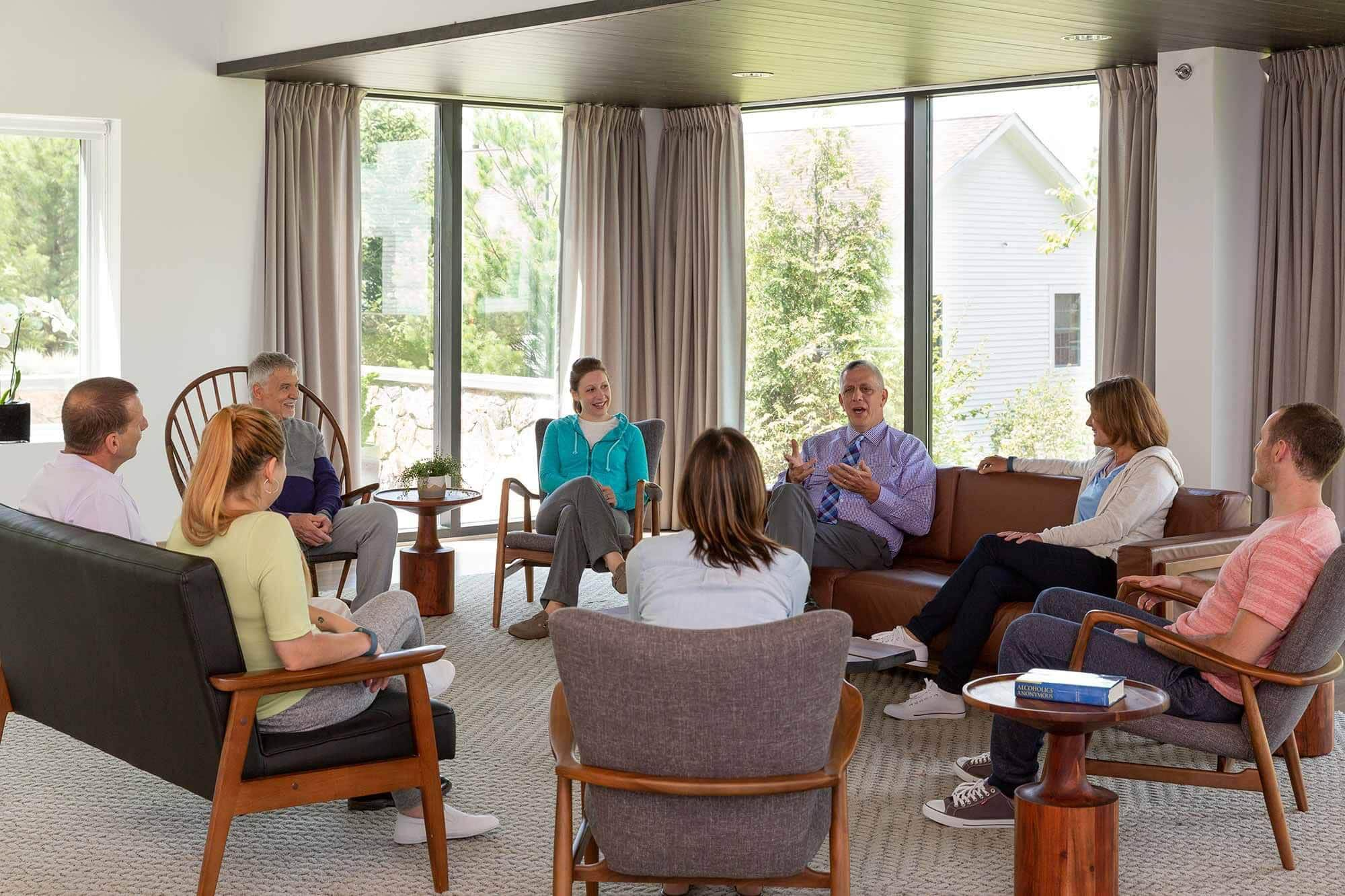 Group therapy addressing substance abuse