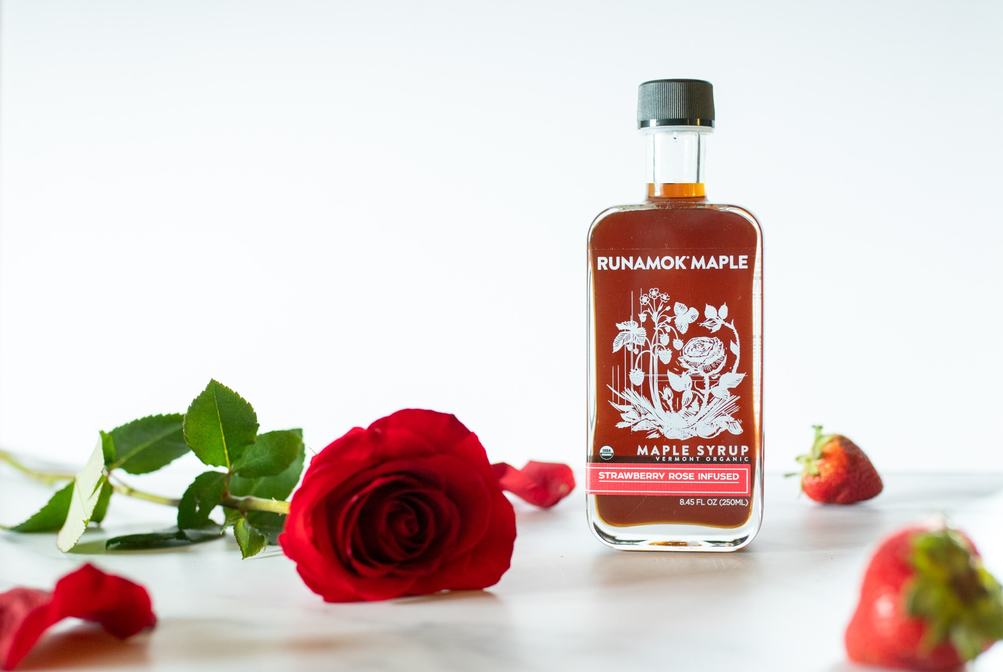 Strawberry Rose Infused Maple Syrup