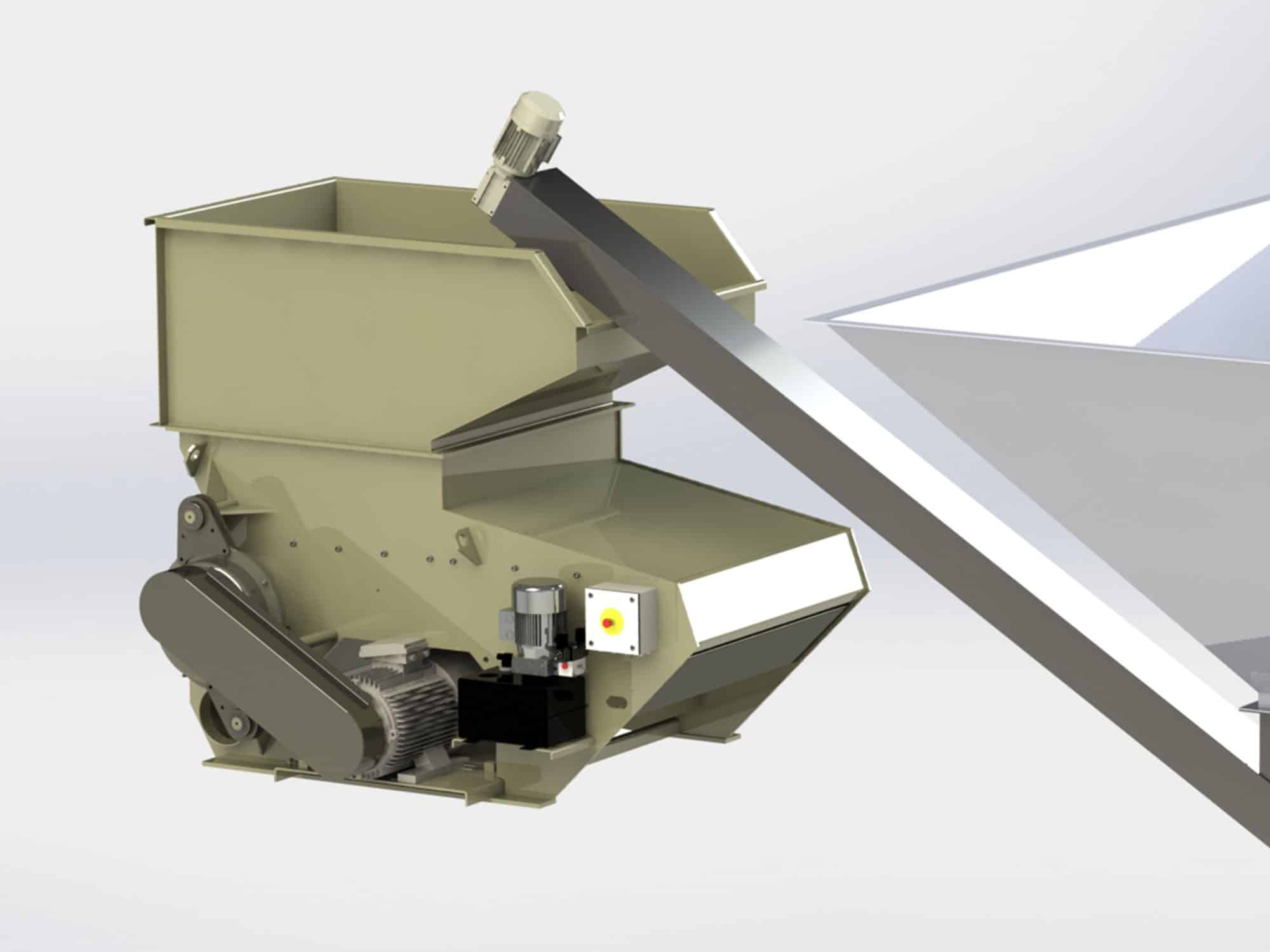 3D rendered wood shredder with auger conveyor