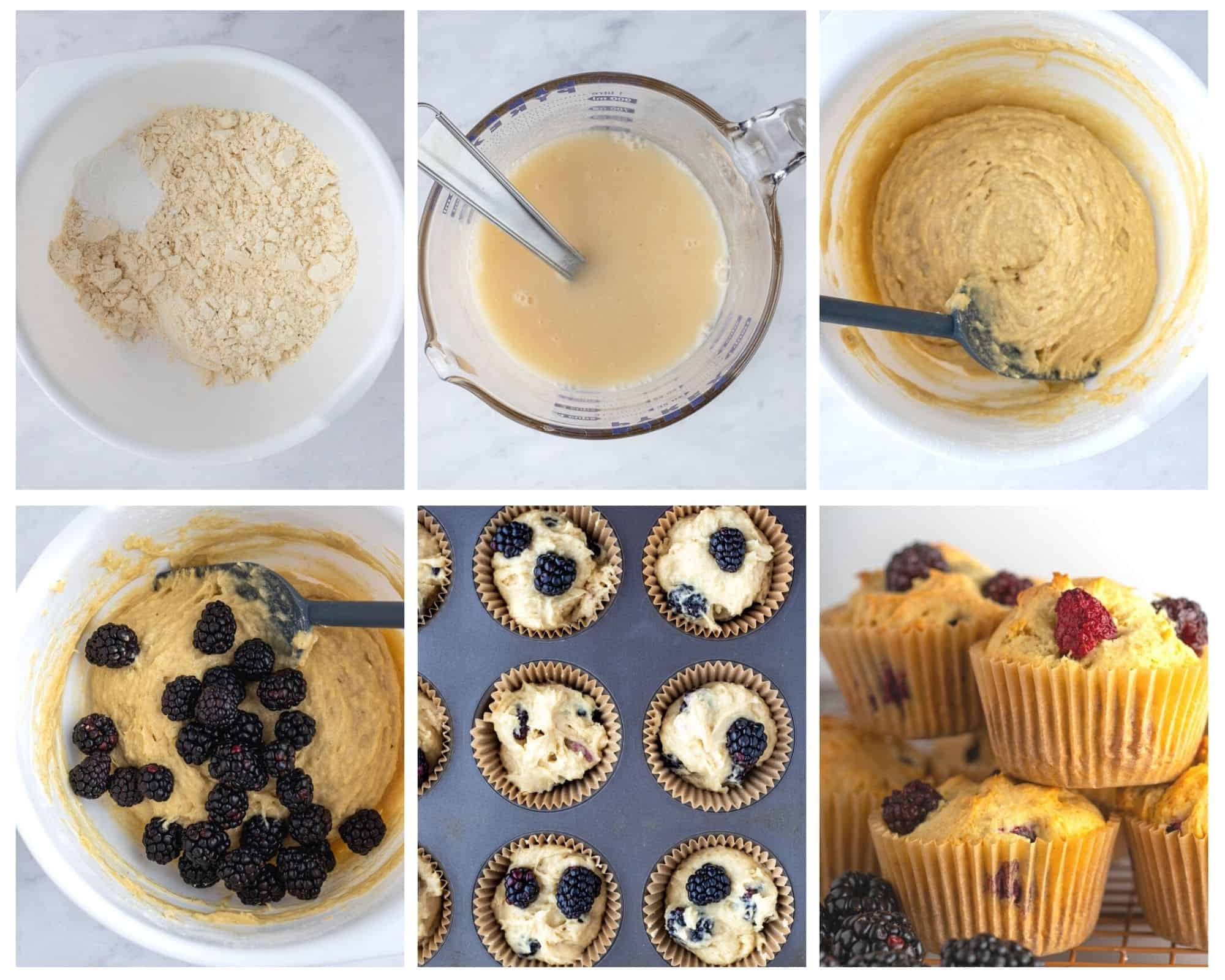 step by step photos showing how to make blackberry muffins