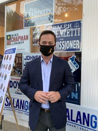 Democratic Gubernatorial Ben Salango in front of Evolve Shepherdstown on Friday Sept. 25.