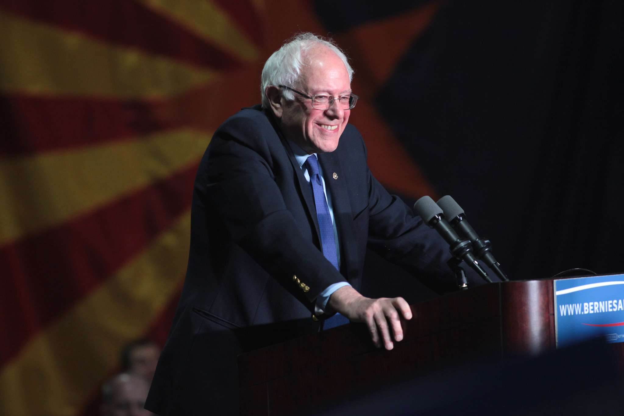 U.S. Senator Bernie Sanders speaking with supporters at a campaign rally at the Phoenix Convention Center in Phoenix, Arizona on March 15, 2016. (Image Credit: Gage Skimore/Flickr)