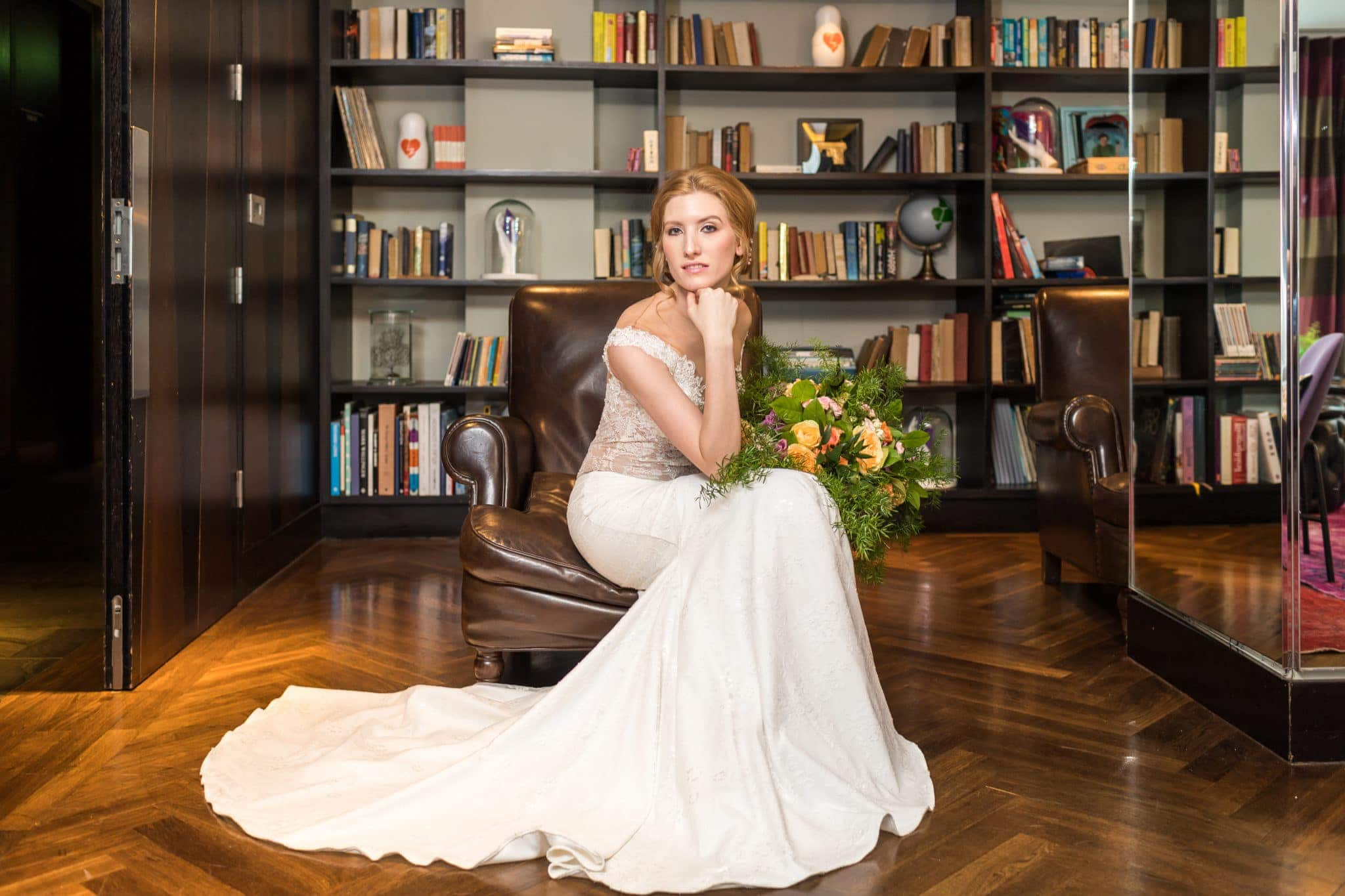 Bride in library - 3 South Place Hotel Lux Wedding