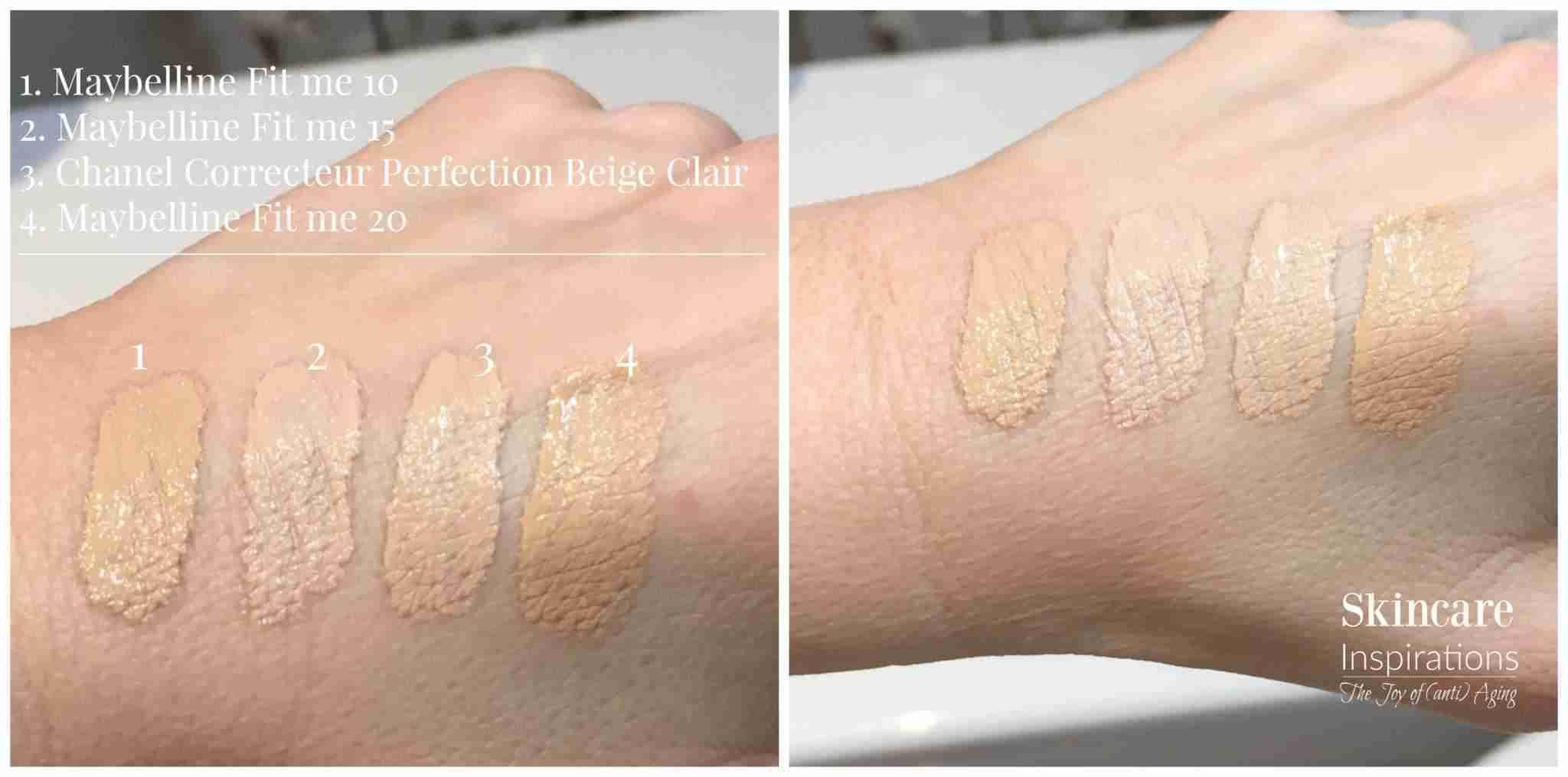 Maybelline Fit me Concealer swatches versus Chanel Correcteur Perfection Concealer