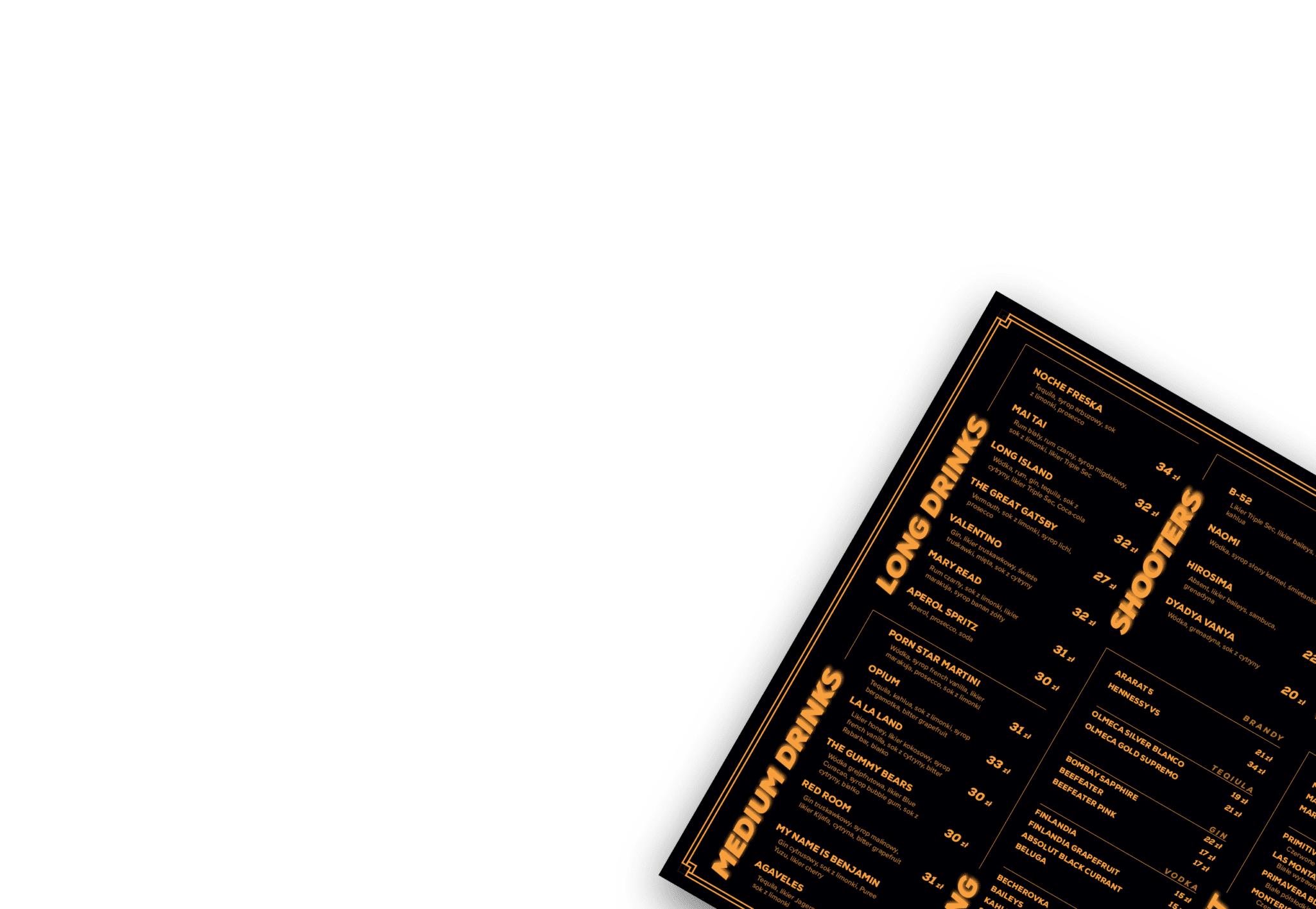 menu do restauracji