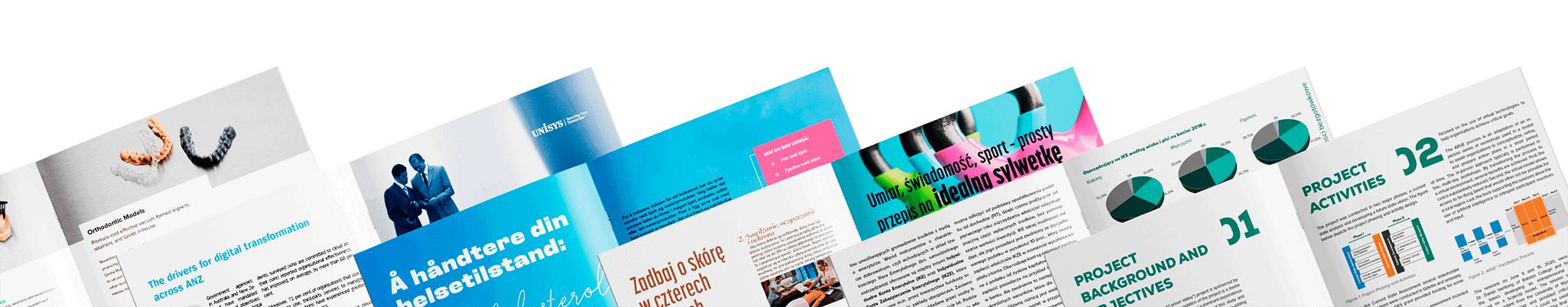 zestaw broszur i folderów reklamowych