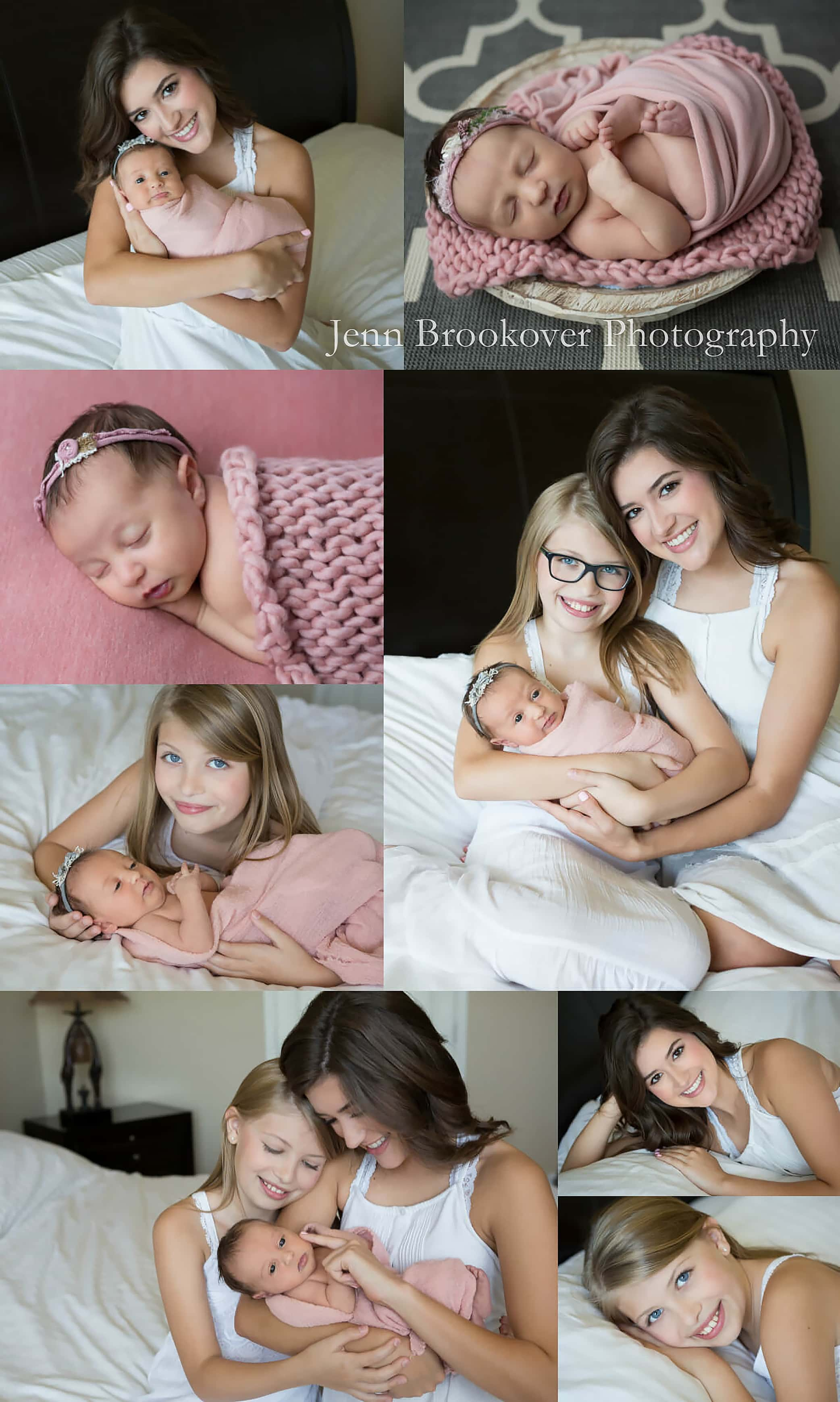 newborn baby girl session at home in San Antonio, Texas with sisters in mauve and gray