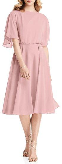Jenny Packham flutter sleeve chiffon dress | 40plusstyle.com