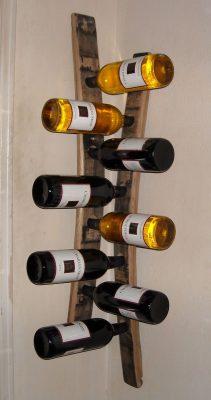 Hanging Corner Wine Racks Made From Barrel Staves