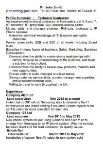 ATS compliant format CV John Smith