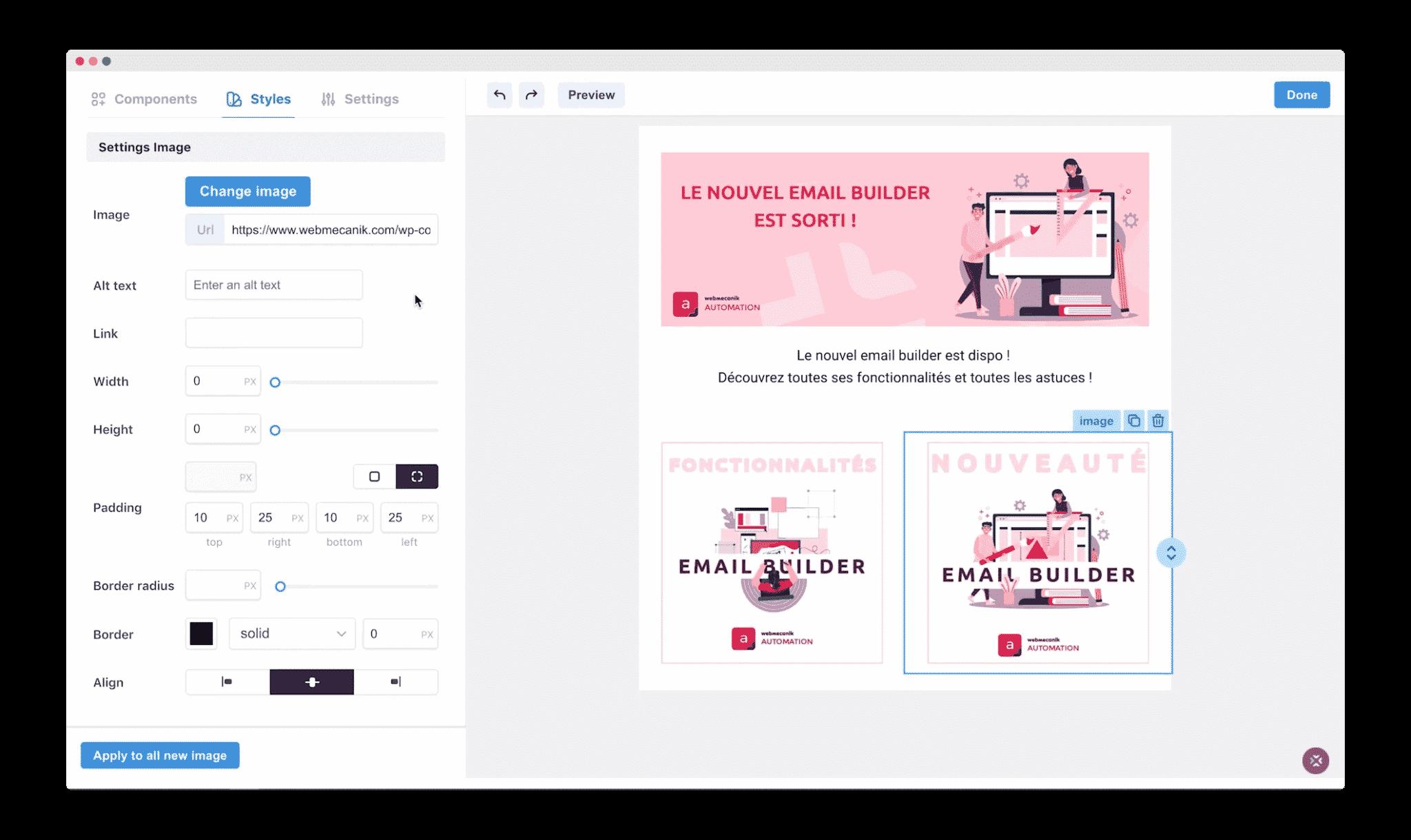 Webmecanik email builder