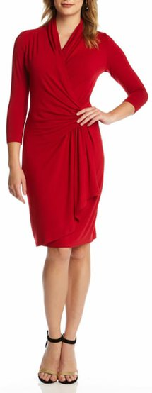 Karen Kane faux wrap dress | 40plusstyle.com