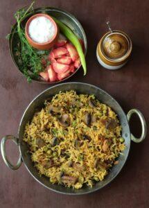 Mushroom Rice / Mushroom Pulao Recipe