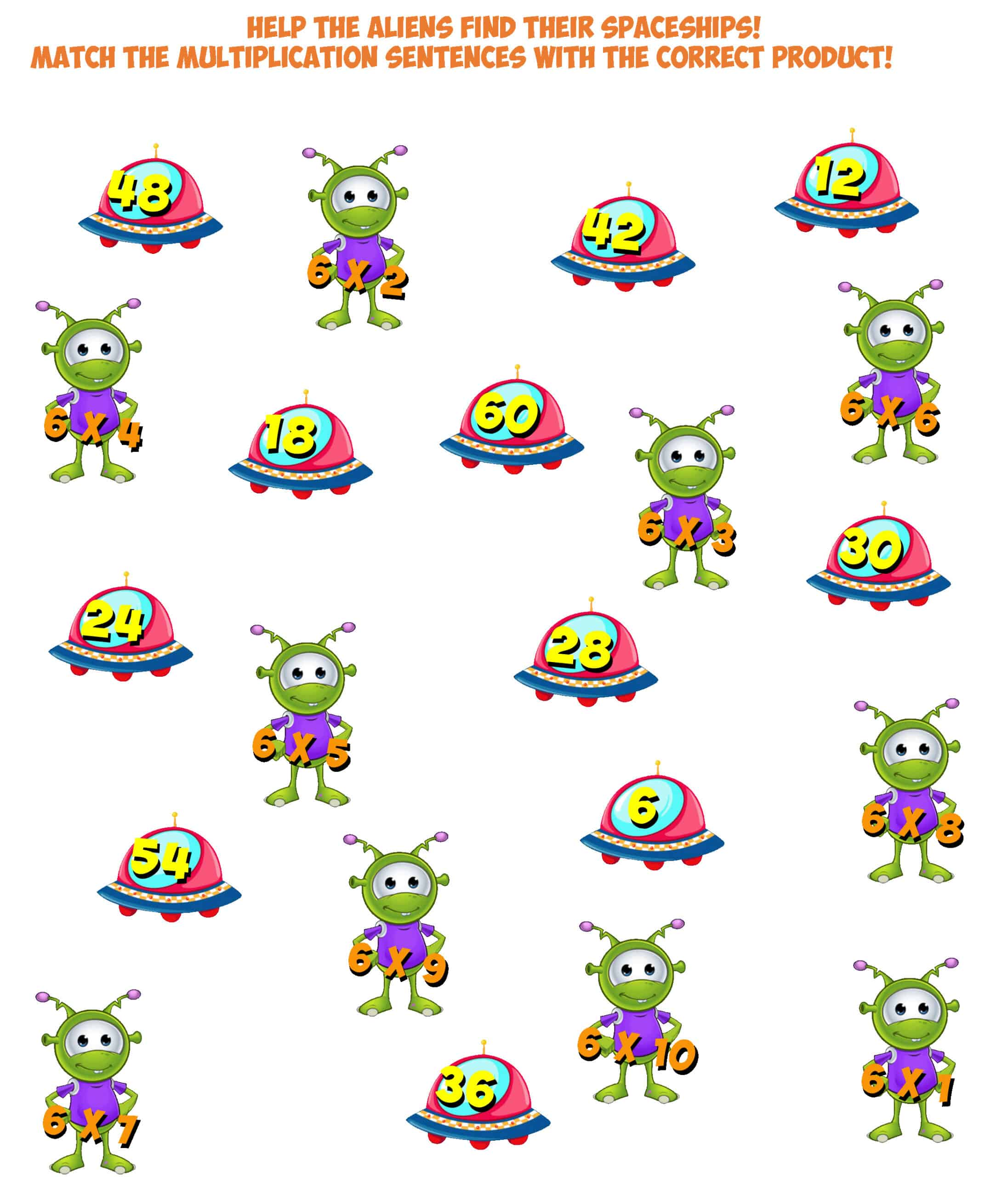 Alien Worksheet 6- multiplication facts 6