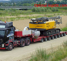 Transportation of road construction equipment
