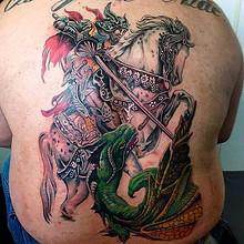 Воин тату самурай на спине
