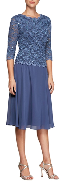 Alex Evenings - Two-Piece Tea Length Dress | fashion over 40 | style | fashion | 40plusstyle.com