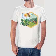 Koszulka męska t-shirt biały kwiat