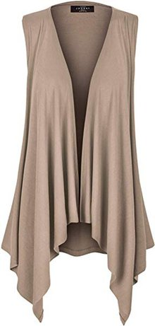 Draped vest cardigans are perfect to hide your tummy | 40plusstyle.com