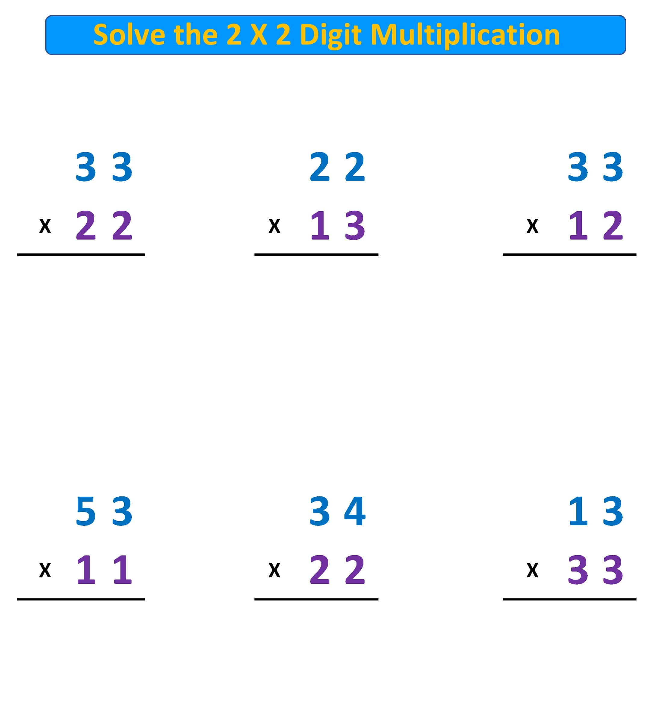 Multiplication 2X2 Digits no regroup
