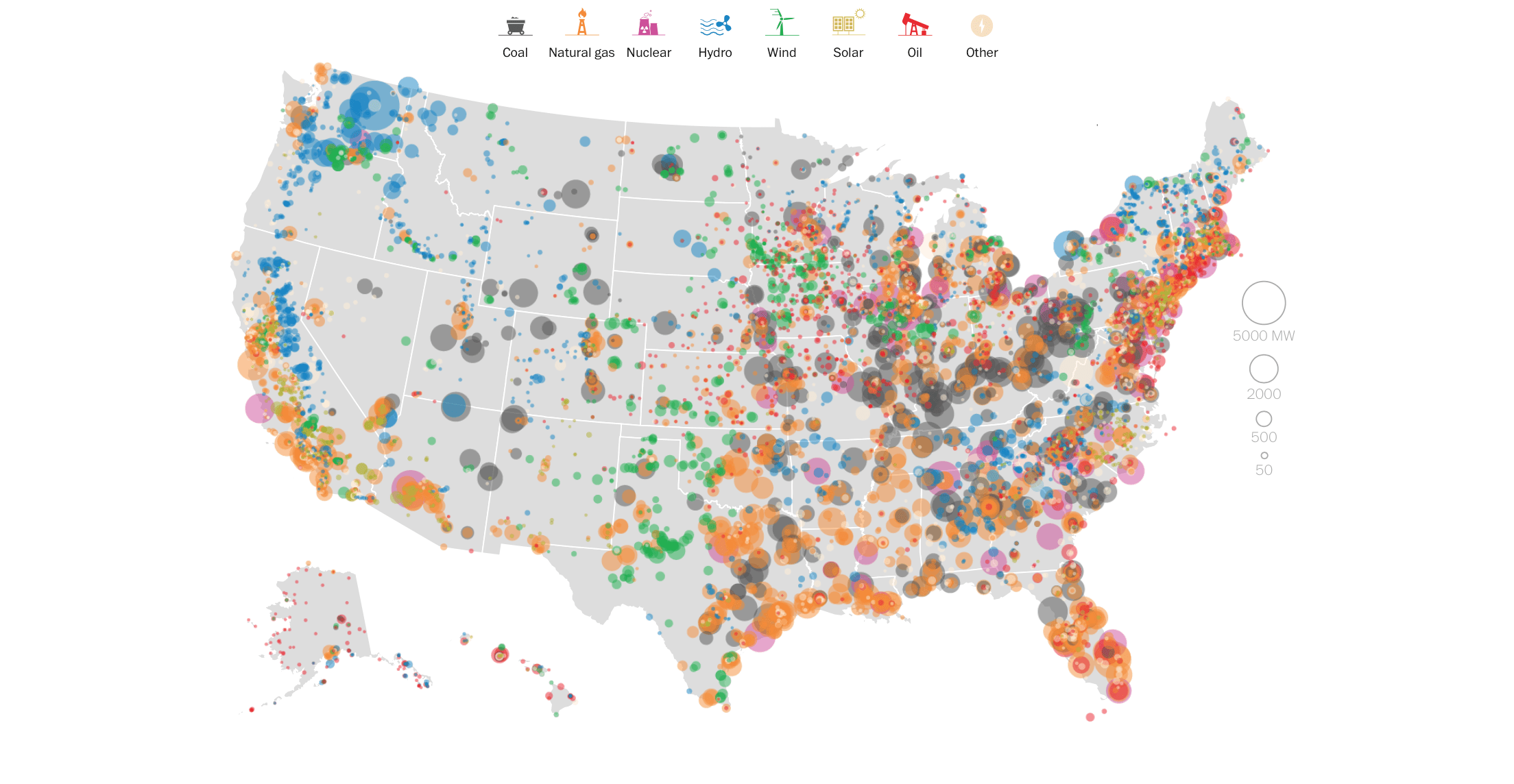 Mapping how US generates Electricity