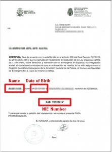 Spanish NIE Number certificate/card