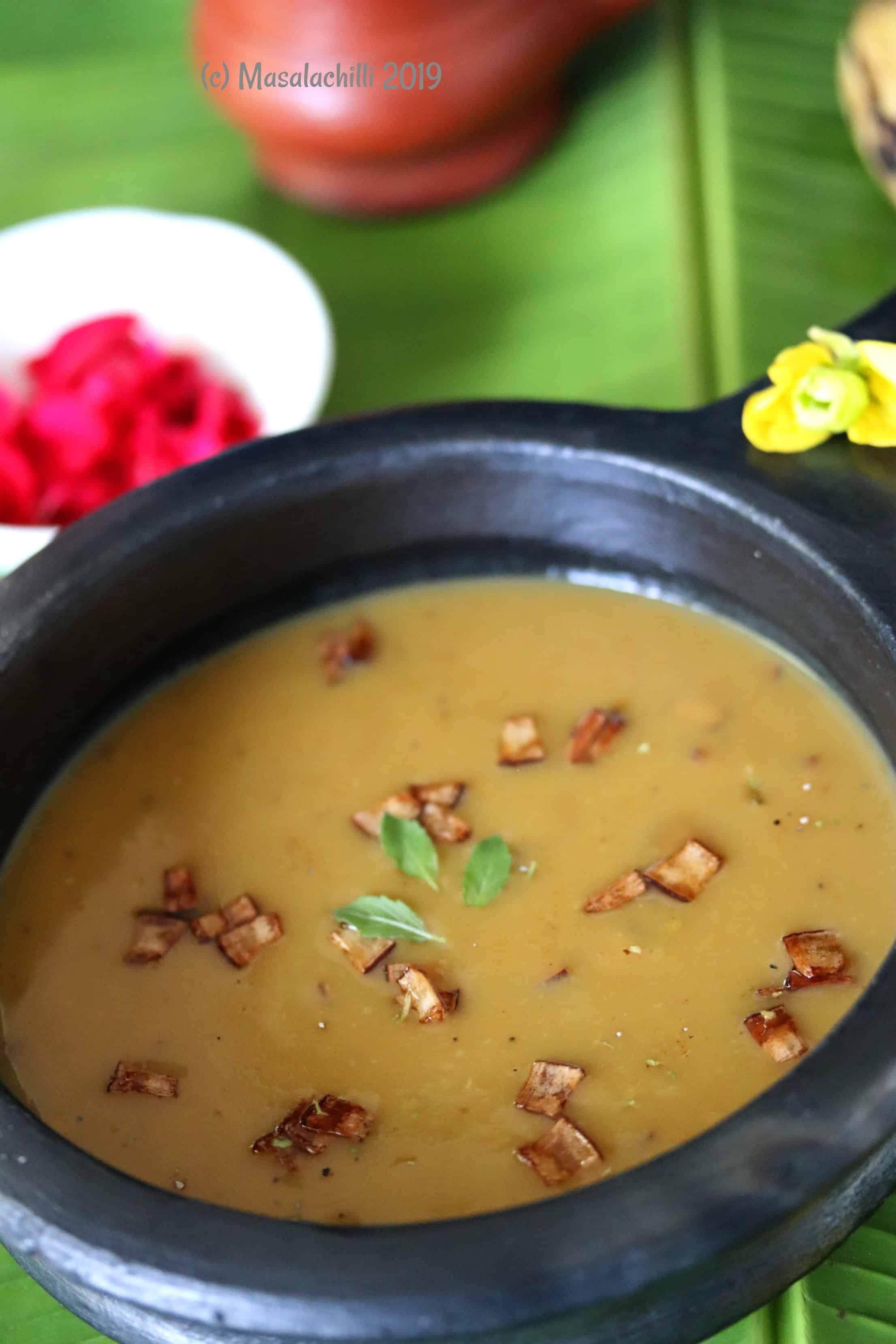 Traditional Kerala Dessert with jaggery and coconut milk called Nendram Pazham Pradhaman