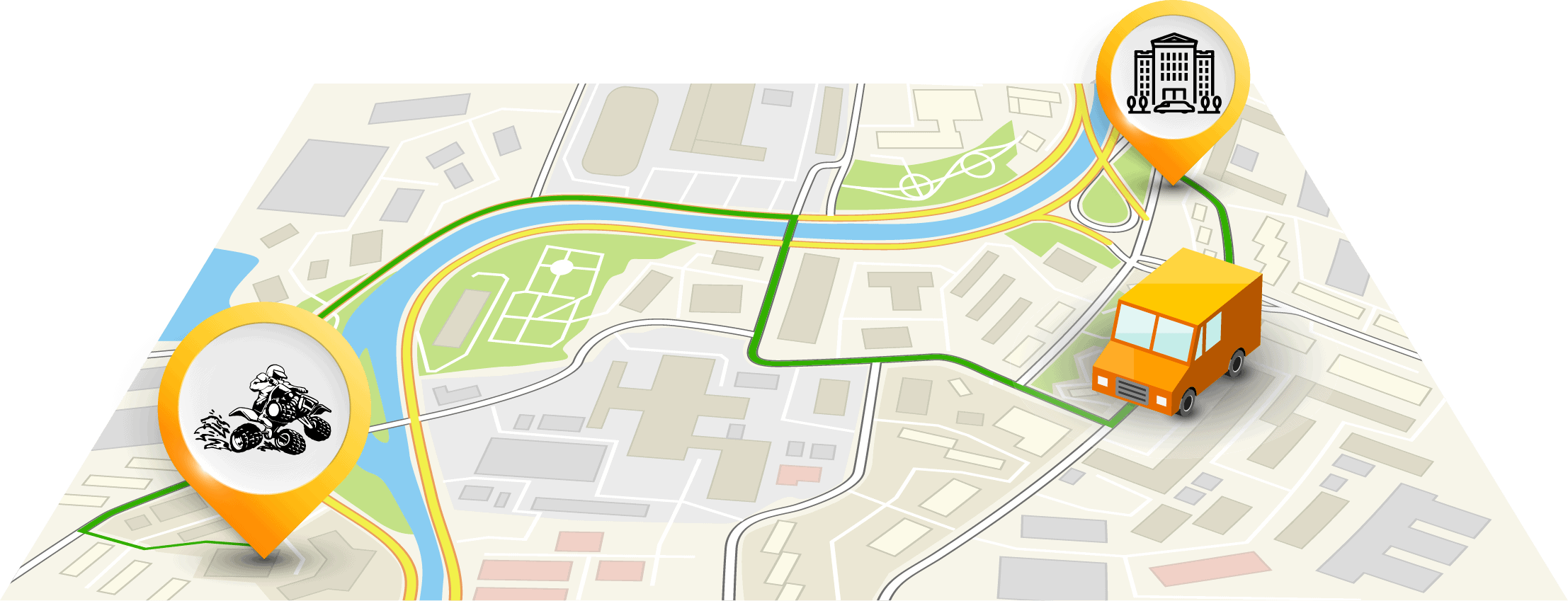 a map of a transfer from a pick up location to the quad tour starting point