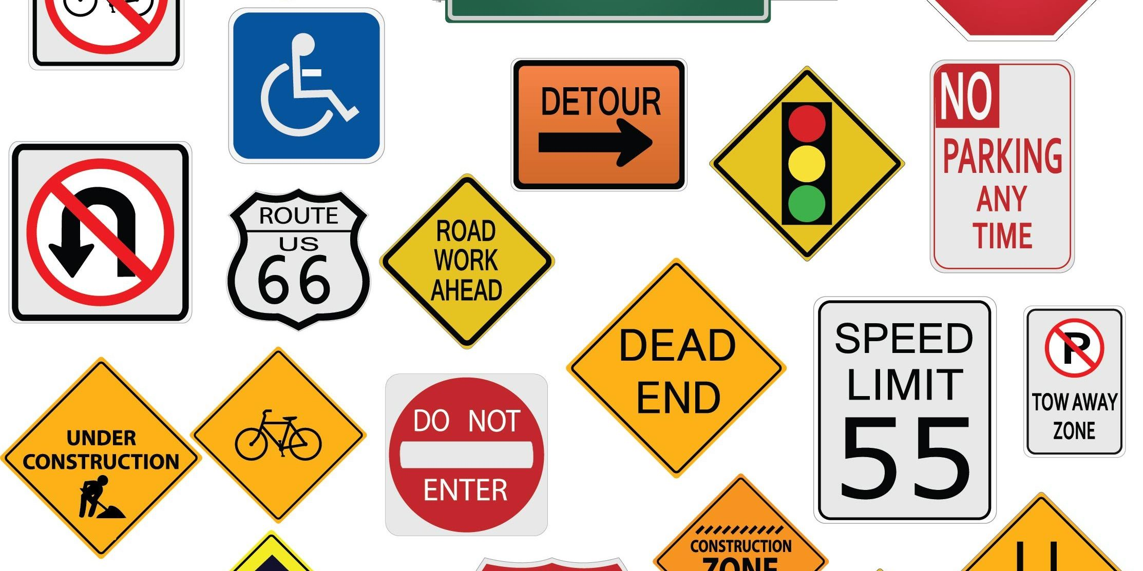 collection of street signs on white background
