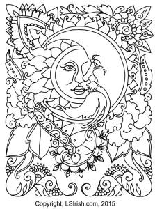 henna moon pyrography pattern