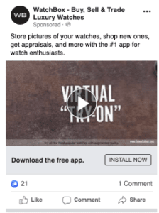 Facebook mobile app install campaign.