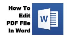 How To Edit PDF File In Word