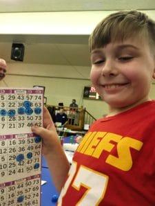 child playing bingo