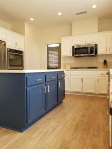 Repainted kitchen cabinets and island in Santa Clarita