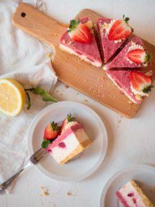 No Bake Strawberry and Raspberry Cheesecake