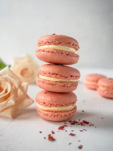 Lychee, rose and raspberry macarons