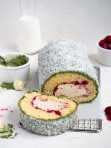 Matcha Raspberry Lamington Roll Cake